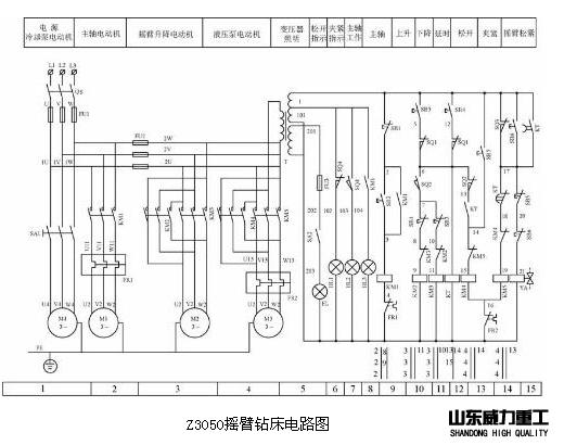 Z3050摇臂钻床控制电路原理图